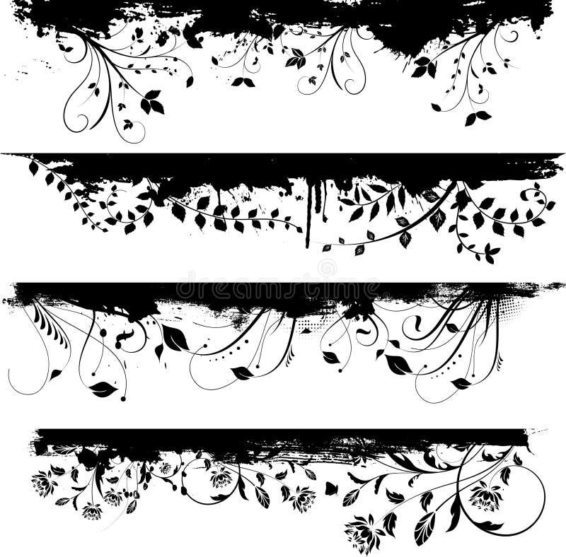 Éléments grunges floraux de conception illustration stock