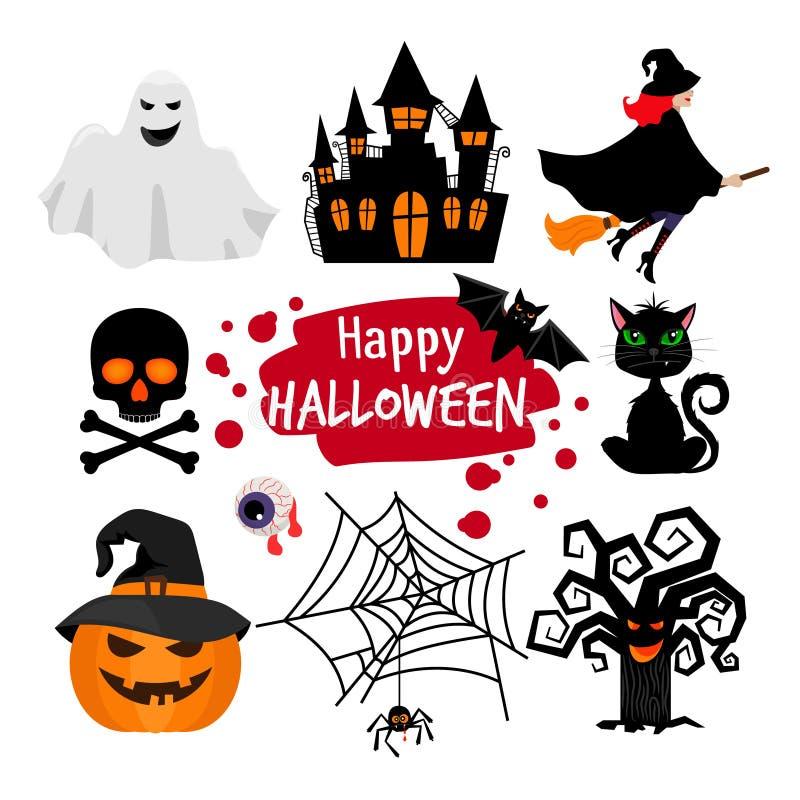 Éléments heureux de bannière de Halloween illustration de vecteur