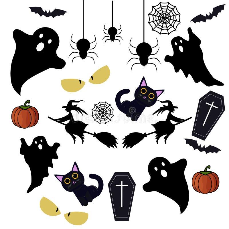 Éléments heureux de conception de Halloween Éléments, logos, insignes, labels, icônes et objets de conception de Halloween illustration stock