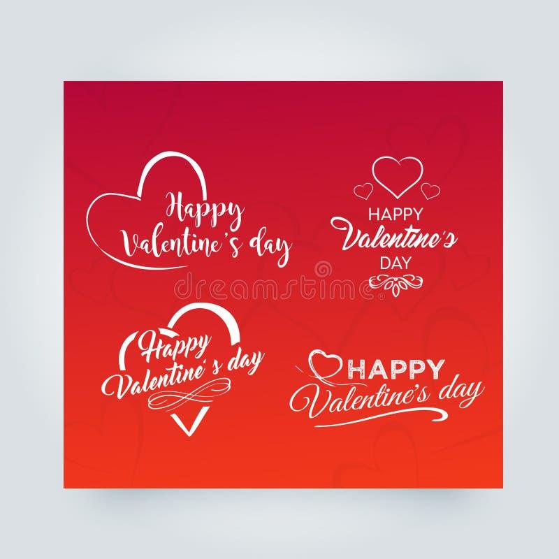 Éléments heureux de conception de vecteur de jour de valentines Ensemble d'éléments, de symboles de coeur, d'insignes, de labels  illustration de vecteur