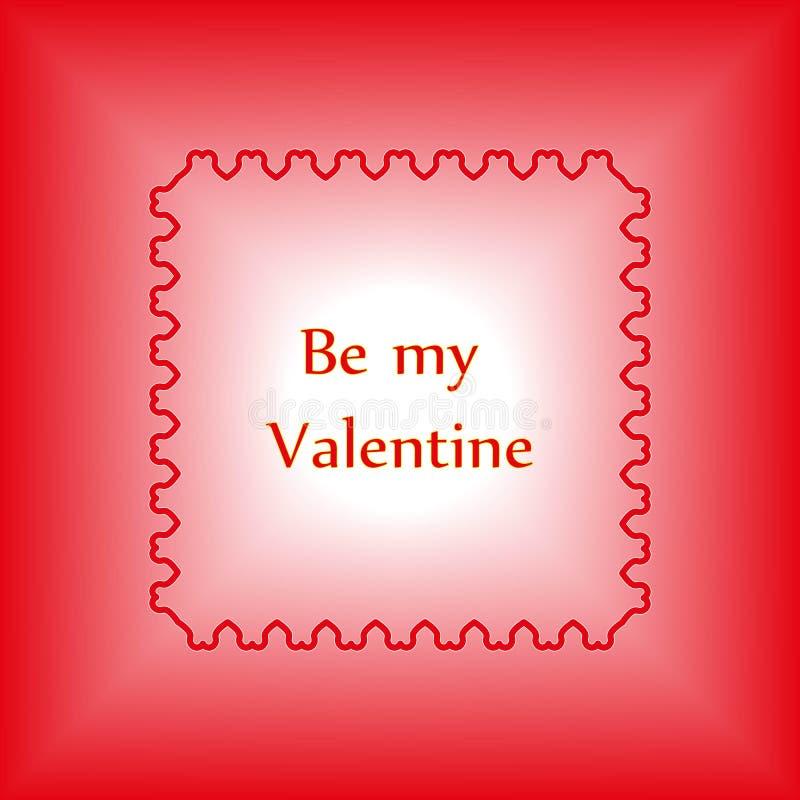 Éléments heureux de jour de valentines et de conception de sarclage Le cadre décoratif des coeurs rouges avec le texte soit mon V illustration stock