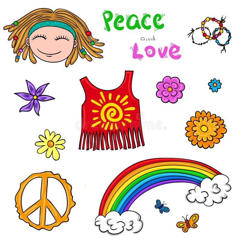 Éléments hippies de symboles Collection d'enfants de fleur illustration libre de droits