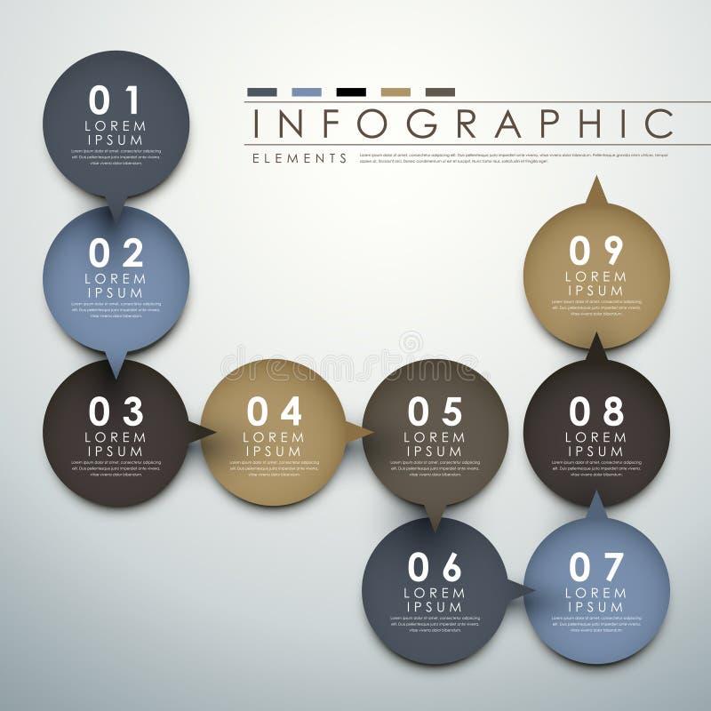 Éléments infographic d'organigramme de label de cercle illustration libre de droits