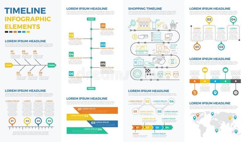 Éléments infographic de chronologie d'affaires illustration de vecteur