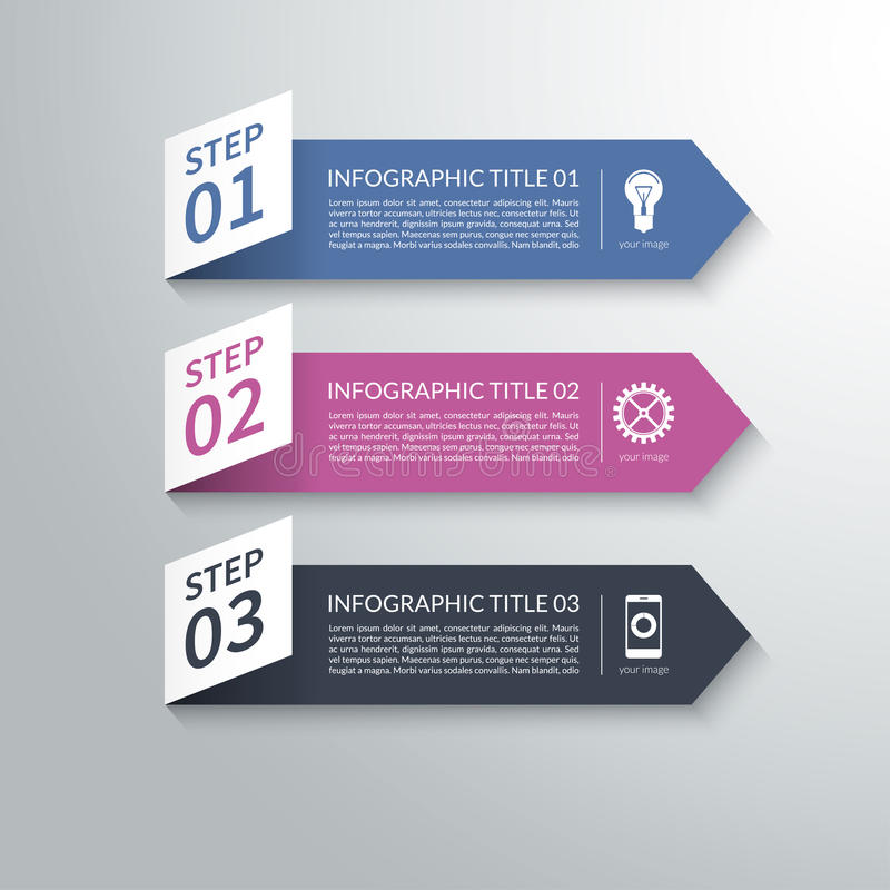 Éléments infographic de conception de flèche moderne du papier 3d illustration stock