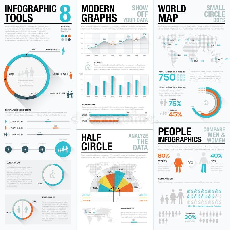 Éléments infographic de vecteur d'humain et de personnes dans la couleur bleue et rouge illustration libre de droits