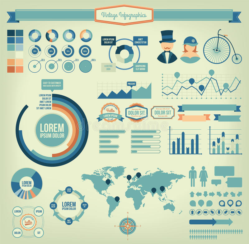 Éléments infographic de vintage illustration libre de droits