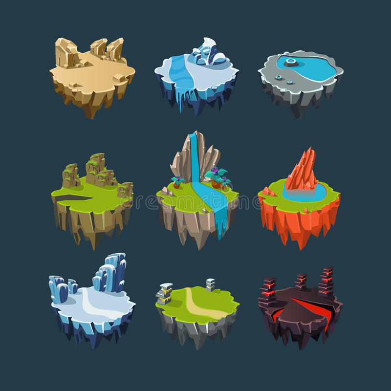 Éléments isométriques d'îles pour des jeux illustration stock
