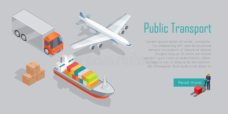 Éléments isométriques d'Infographics de transport de cargaison illustration stock