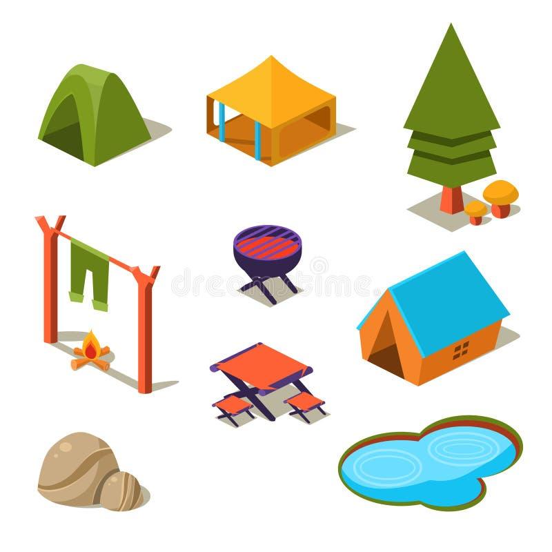 Éléments isométriques de camping de la forêt 3d pour le paysage illustration de vecteur
