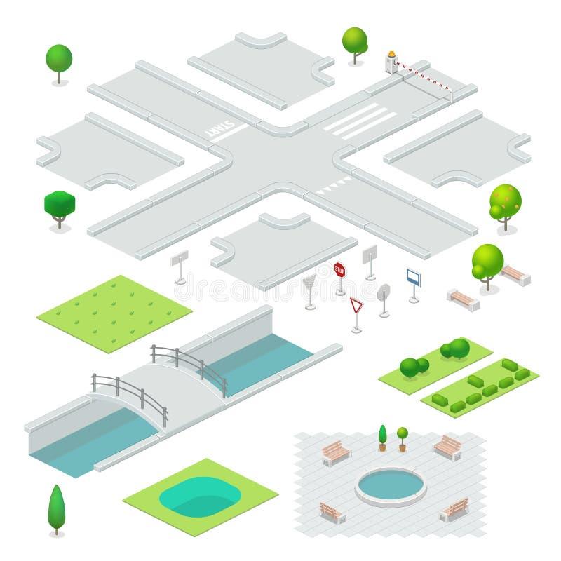 Éléments isométriques de ville illustration stock