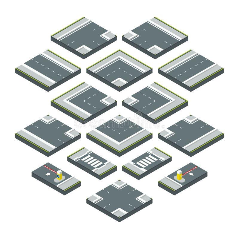Éléments isométriques de ville route, herbe et carrefours Isolat réglé par illustrations de vecteur sur le fond blanc illustration libre de droits