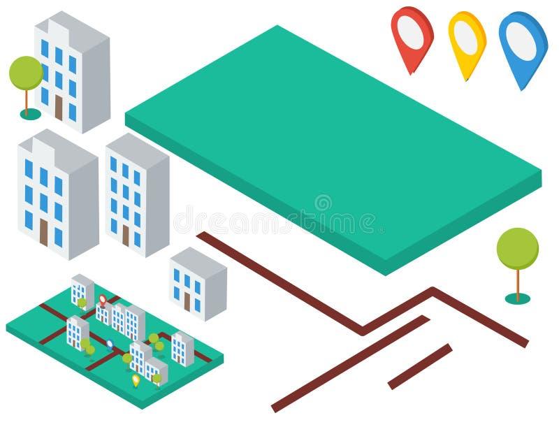 Éléments isométriques pour la carte Bâtiments, arbres, icônes de généralistes illustration libre de droits