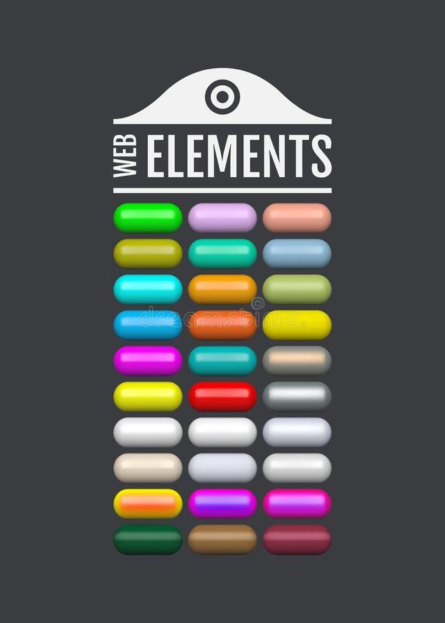 Éléments lustrés de Web Boutons ovales colorés pour votre conception icônes en verre du menu 3d Illustration de vecteur illustration libre de droits