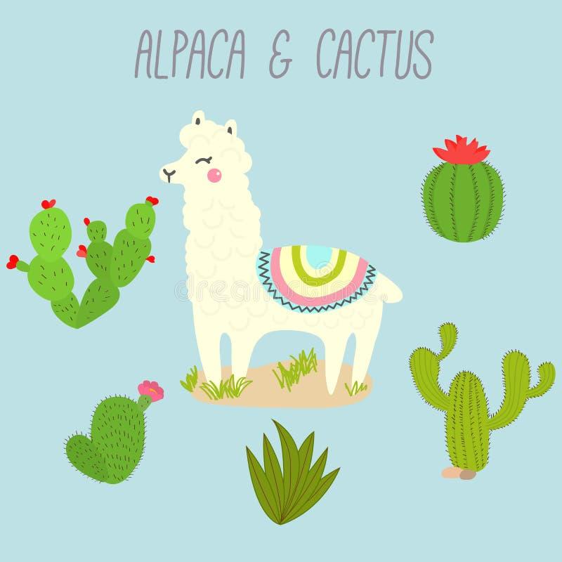 Éléments mignons de conception de lama et de cactus de vecteur Illustration illustration stock