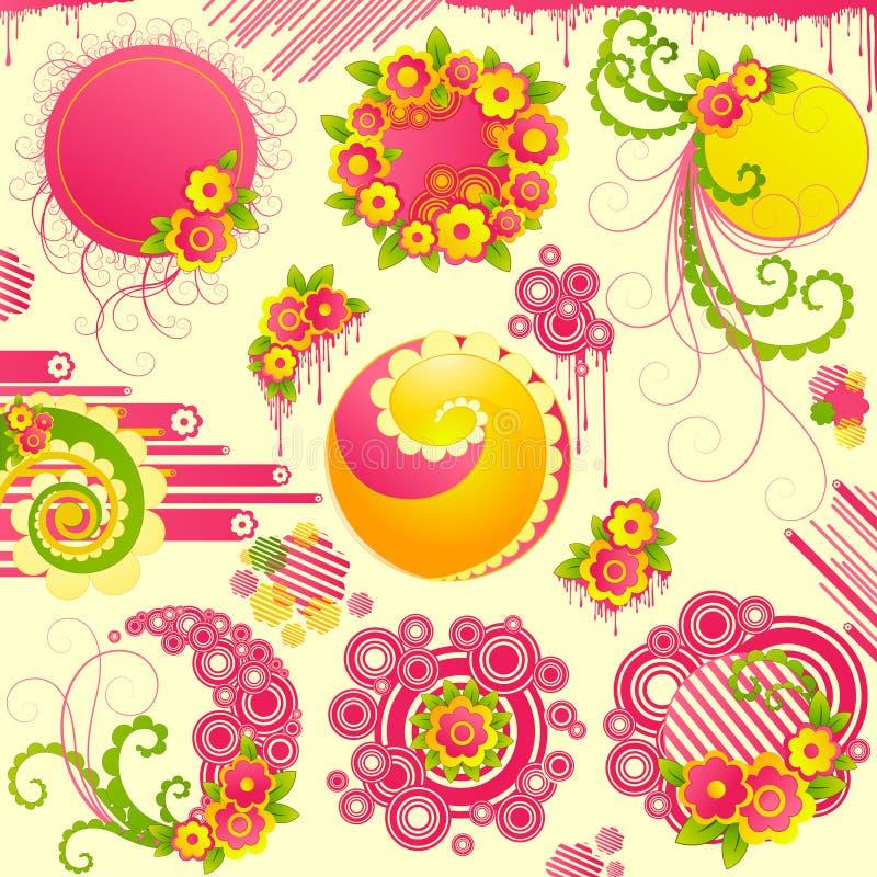 Éléments mignons de conception florale. illustration de vecteur