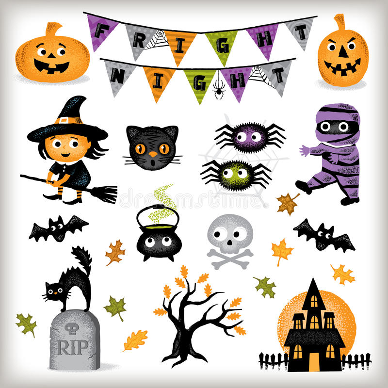 Éléments mignons de graphique de Halloween photo stock