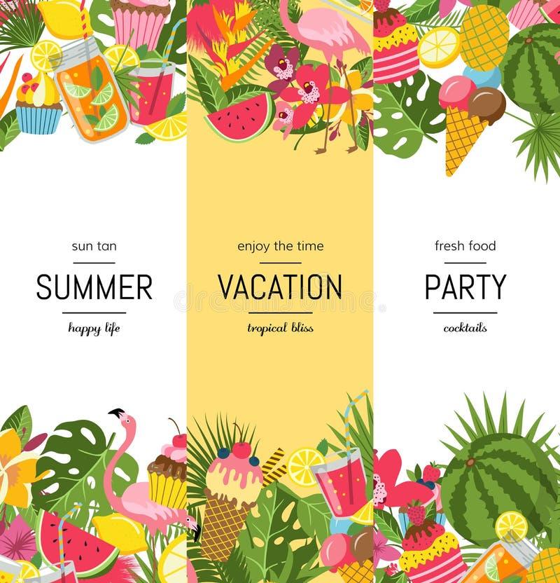 Éléments mignons plats d'été de vecteur, cocktails, flamant, bannière de palmettes illustration stock