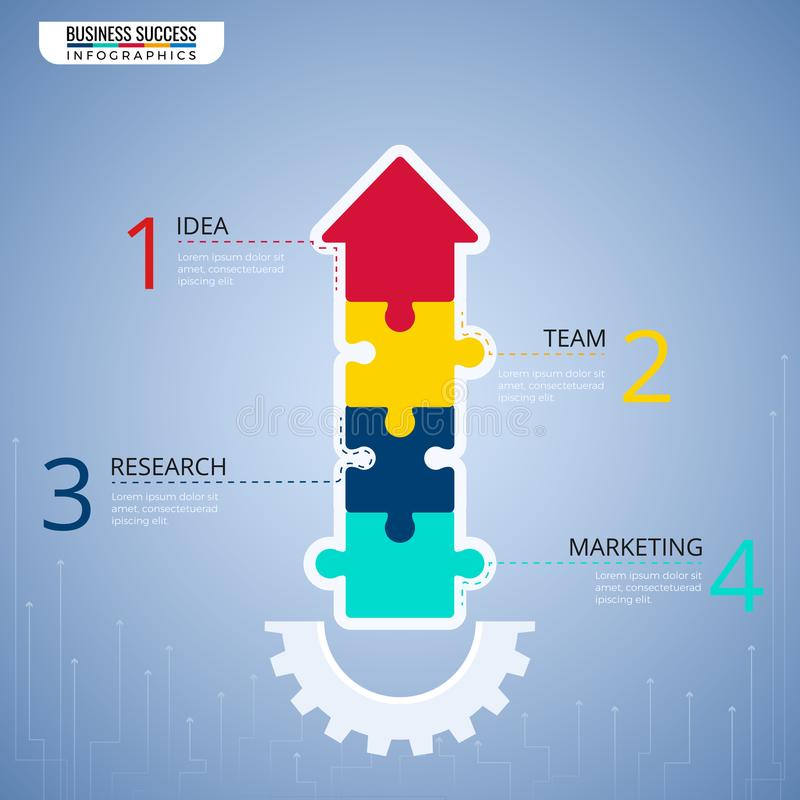 Éléments modernes d'infographics de flèche de puzzle Étape au calibre infographic de concept d'affaires de succès peut être emplo illustration stock