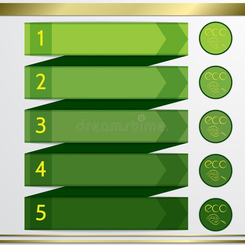 Éléments modernes d'infographics de liste de vert d'eco de vecteur illustration de vecteur