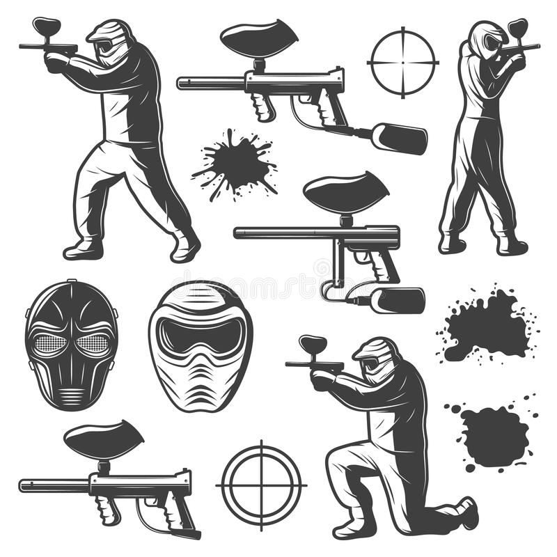 Éléments monochromes de club de Paintball de vintage illustration stock