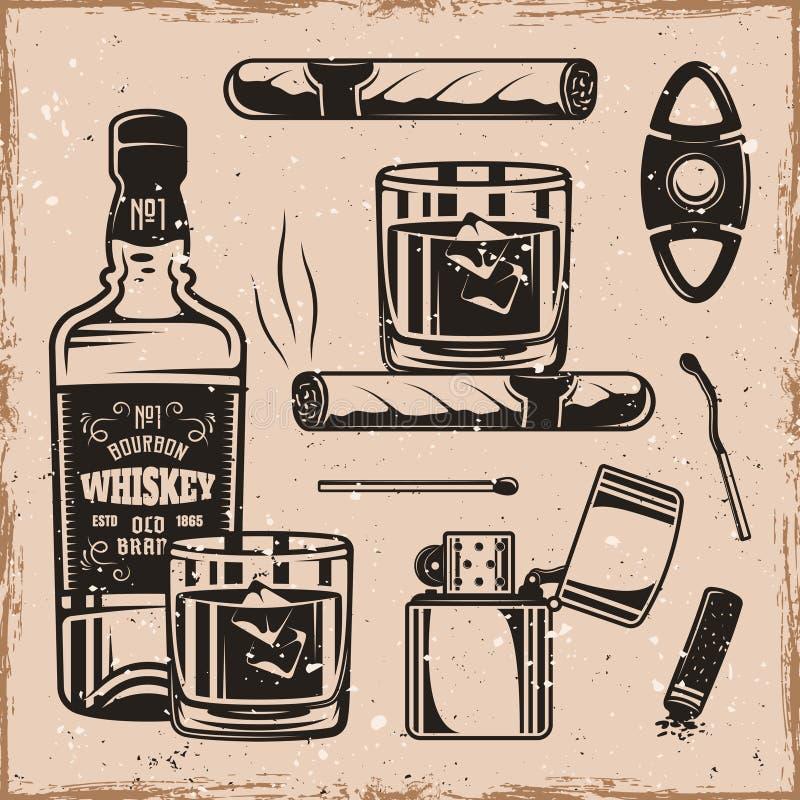 Éléments monochromes de whiskey et de conception de cigares illustration libre de droits