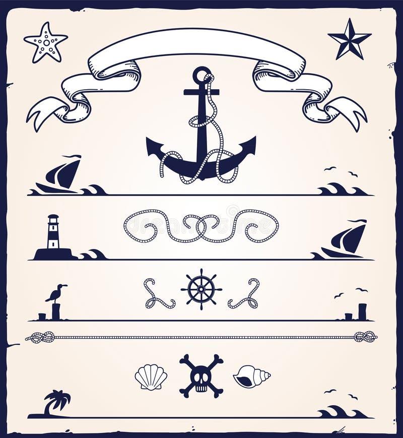 Éléments nautiques de conception illustration de vecteur