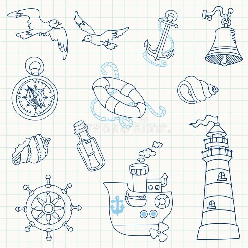Éléments nautiques de conception de mer illustration de vecteur