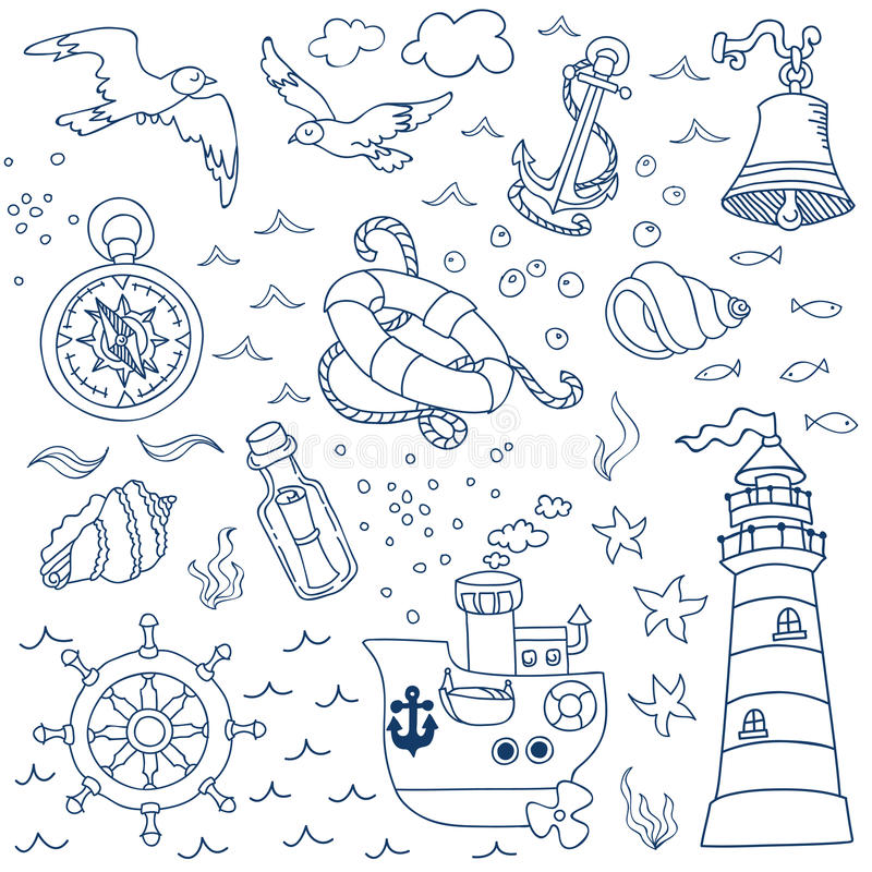 Éléments nautiques de conception de mer illustration libre de droits