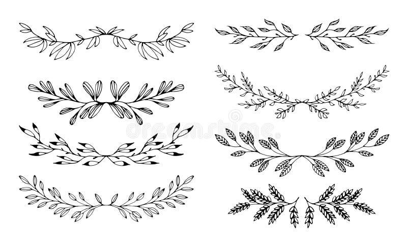 Éléments noirs tirés par la main floraux réglés des cadres sur le fond blanc illustration de vecteur