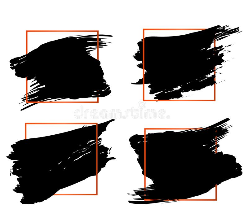 Éléments oranges et noirs modernes réglés de conception de cadre de citation de bloc et de citation de traction Calibre créatif d illustration libre de droits