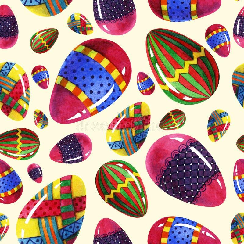 Éléments ornementaux d'aquarelle de pâques d'oeufs de beauté de petit morceau coloré sans couture peint à la main de modèle illustration libre de droits