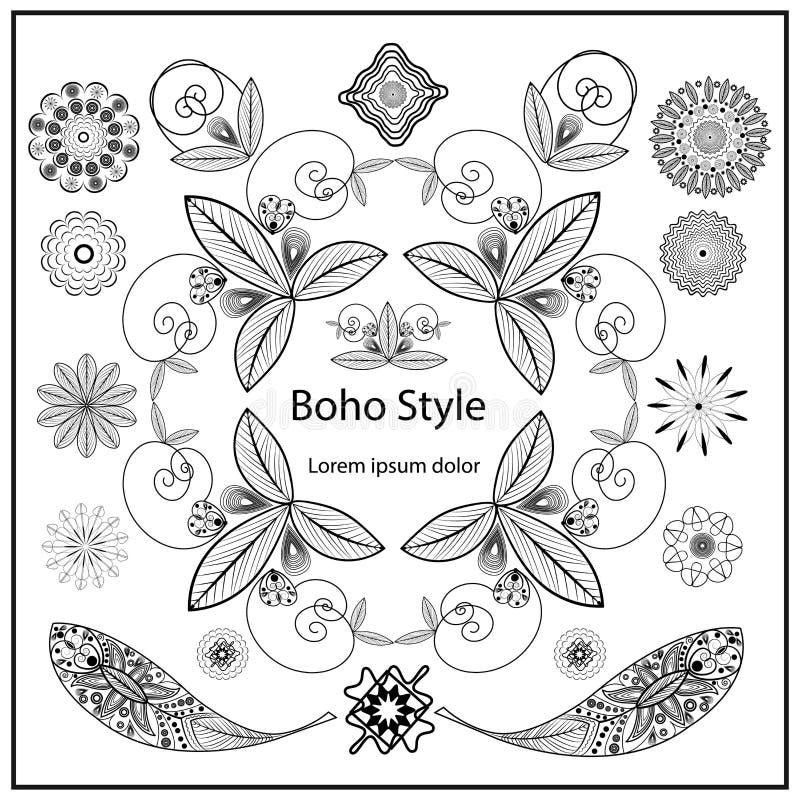 Éléments ornementaux réglés de style de Boho illustration stock