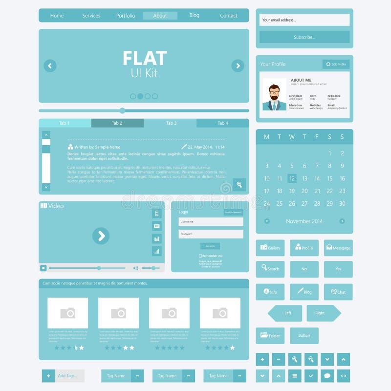 Éléments plats de site Web, kits d'Ui Illustration de vecteur illustration de vecteur