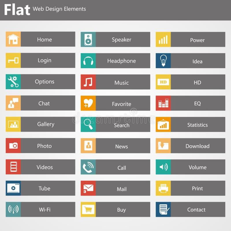 Éléments plats de web design, boutons, icônes. Calibres pour le site Web. illustration de vecteur