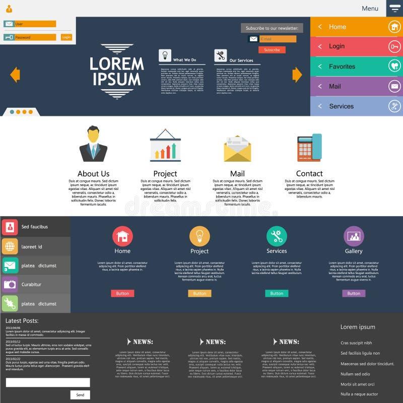 Éléments plats de web design. Calibres pour le site Web. illustration stock