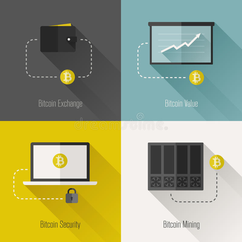 Éléments plats modernes de conception de Bitcoin. Illustration de vecteur illustration libre de droits
