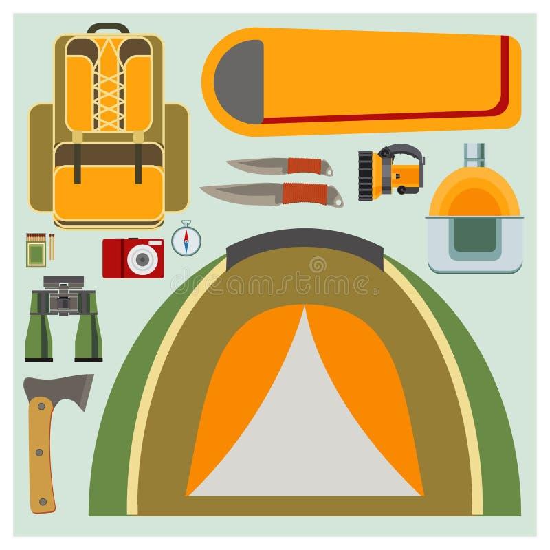 Éléments plats réglés de camping de vecteur illustration libre de droits