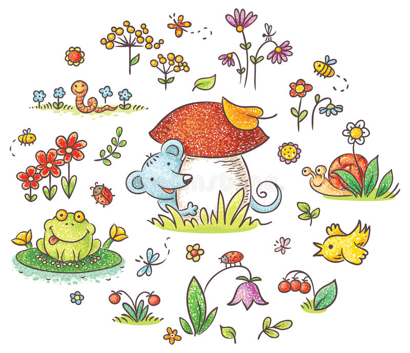 Éléments pour des conceptions d'enfants illustration stock