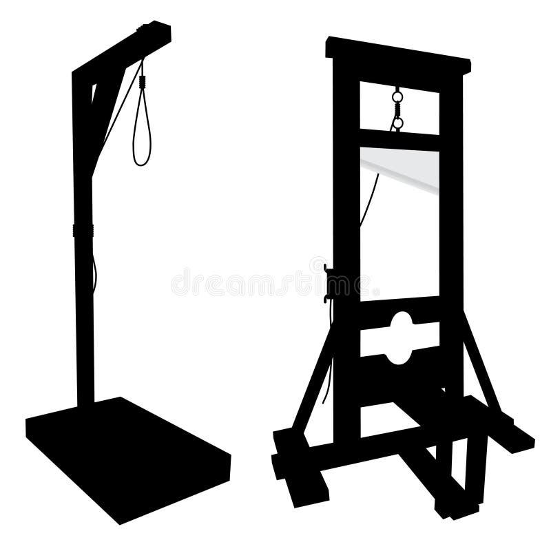 Éléments pour exécuter des exécutions, massicot, gallow illustration de vecteur