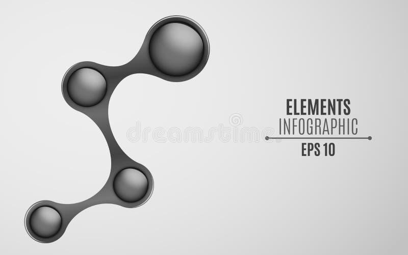 Éléments pour l'infographics dans le metaball de style Un espace vide pour votre Web, affaires projette Boules brillantes brillan illustration de vecteur