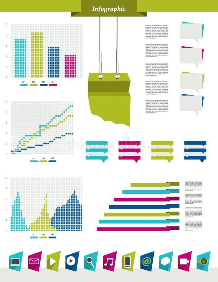 Éléments réglés d'Infographics Descripteur de conception de vecteur illustration stock