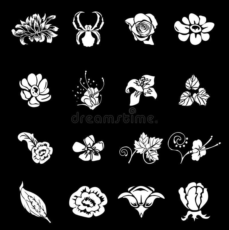 Éléments réglés de conception de série de graphisme floral illustration stock