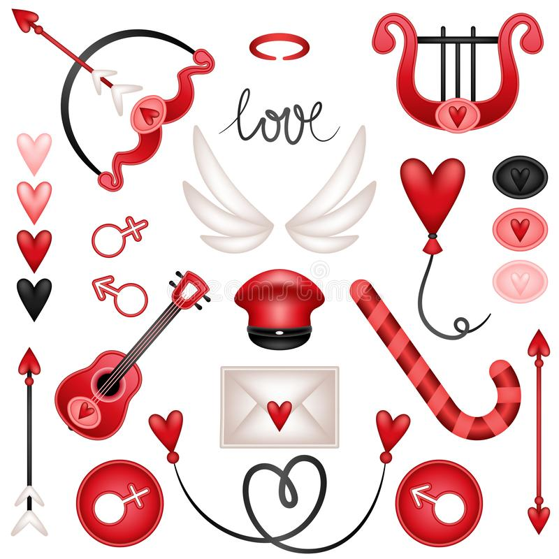 Éléments réglés de cupidon d'amour illustration stock