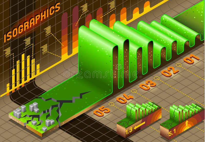 Éléments réglés de graphique d'infos avec le tremblement de terre et la ville illustration stock