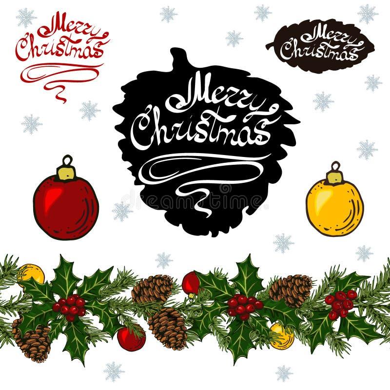 Éléments réglés de Noël sur le fond blanc illustration stock