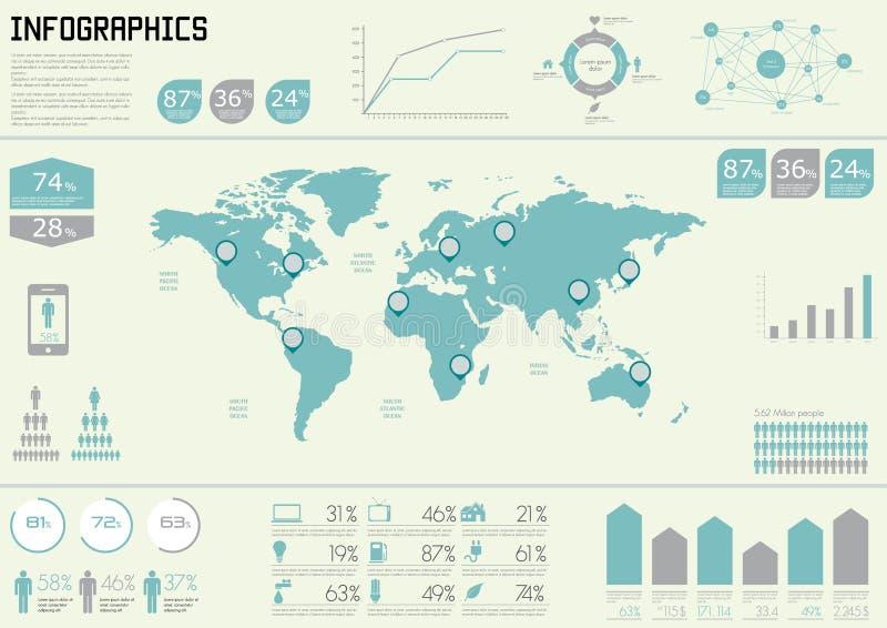 Éléments réglés de vecteur d'infographics. illustration stock