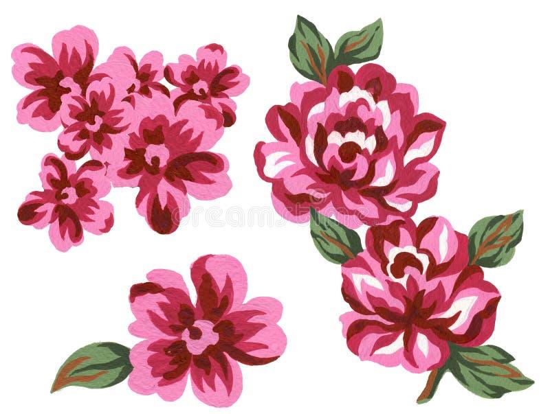 Éléments roses romantiques d'ensemble d'élément de fleur de bouquet de cru coloré élégant d'aquarelle sur le fond blanc illustration de vecteur