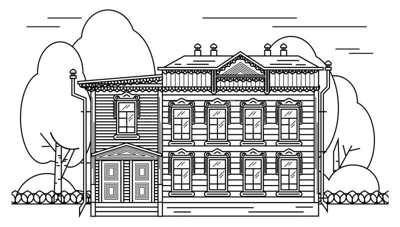 Éléments russes de décor de maison illustration stock
