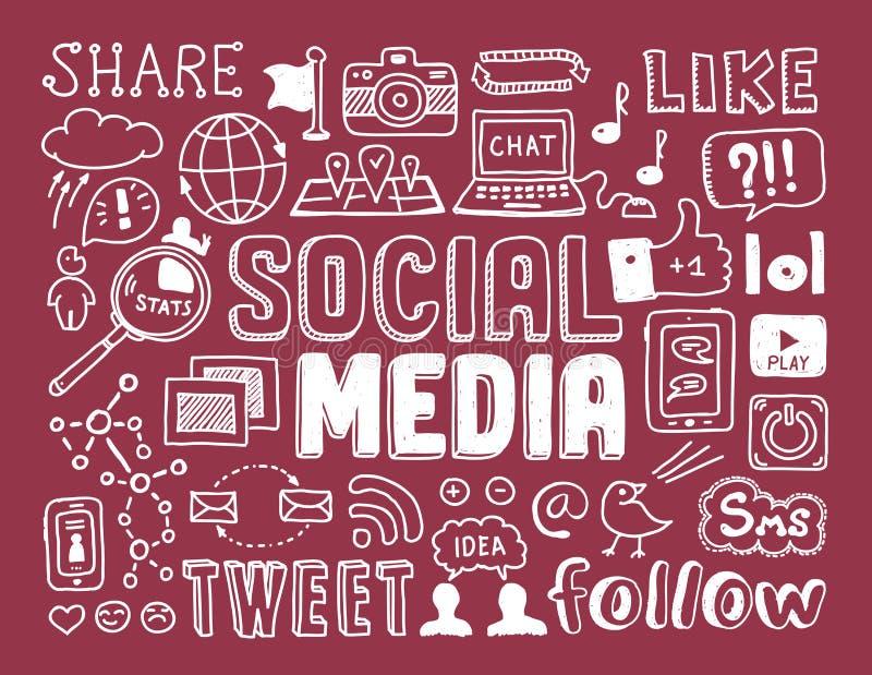 Éléments sociaux de griffonnages de media illustration libre de droits